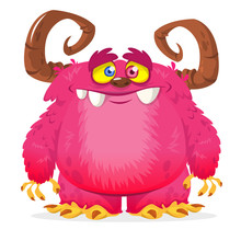 Cartoon Pink Monster. Monster Troll Illustration With Surprised Expression. Vector Halloween Illustration