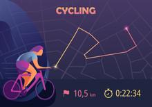 Sports App For Cyclist. Mobile App Templates, Concept Vector Illustration Flat Design.