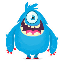 Cute Cartoon Monster  With Hor...