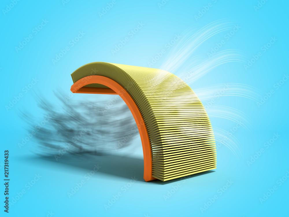 Fototapeta car air filter 3d render on blue background