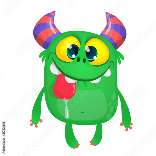 Poster Creatures Funny cartoon monster. Halloween illustration