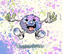 Pluizebal Cartoon Vrolijk Met Confetti