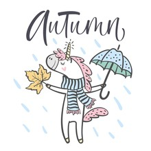 Hand Drawn Cute Autumn Unicorn Isolated On White Background. Design Element For Greeting Cards, T-shirt And Other. Vector Illustration.