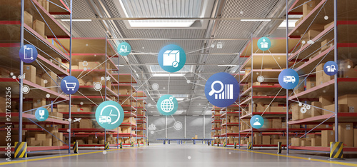 Photo Logistic organisation on a warehouse background 3d rendering