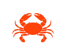 Crab Logo. Isolated Crab On Wh...