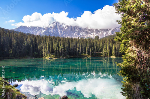 Poster Bergen Karersee, lake in the Dolomites in South Tyrol, Italy