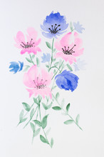 A Bouquet Of Flowers In A Vase Painted In Watercolor.