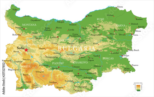 Bulgaria physical map Wallpaper Mural