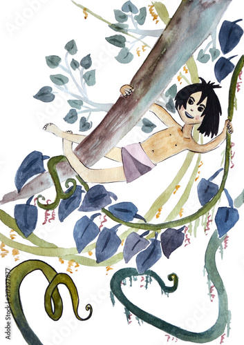 Mowgli boy in jungles with different plants, watercolor paintings Wallpaper Mural