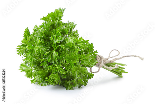 Valokuva parsley bunch tied with ribbon isolated on white background