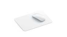 Blank White Square Mouse Pad Mock Up Front View, Isolated, 3d Rendering. Empty Mat With Computer Mouse Mockup. Clear Pc Mousepad Rug For Design Presentation