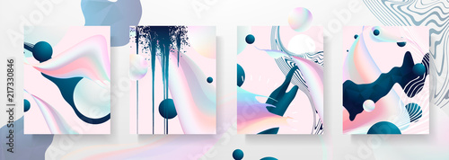 Obraz Abstract Fluid creative templates, cards, color covers set. Geometric design, liquids, shapes. Trendy vector collection. Pastel and neon design, geometric fluid graphic shape, in vector background. - fototapety do salonu