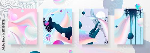 Abstract Fluid creative templates, cards, color covers set Fototapeta