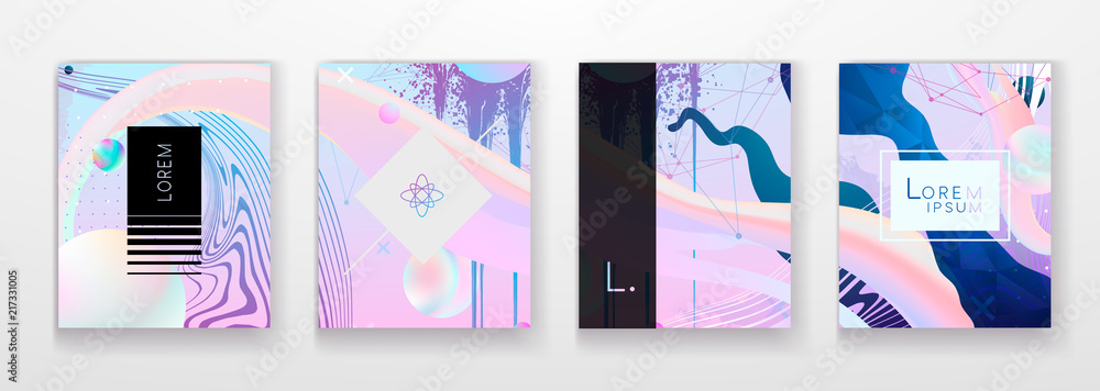 Fototapeta Abstract Fluid creative templates, cards, color covers set. Geometric design, liquids, shapes. Trendy vector collection. Pastel and neon design, geometric fluid graphic shape, in vector background.