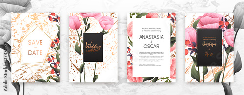 Obraz Wedding invitation frame set; flowers, leaves, watercolor, minimal vector. Sketched wreath, floral and herbs garland with rose, green, greenery color. Handdrawn Vector Watercolour style, nature art. - fototapety do salonu