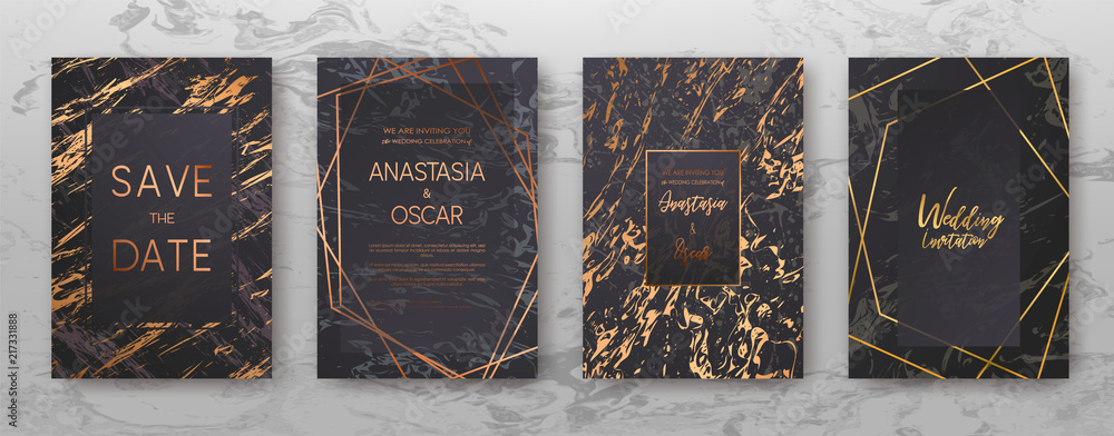 Fototapeta Gold, black, white marble template, artistic covers design, colorful texture, realistic cube, backgrounds. Trendy pattern, graphic poster, geometric brochure, cards. Vector illustration.