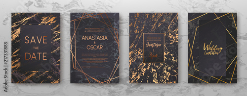 Gold, black, white marble template, artistic covers design, colorful texture, realistic cube, backgrounds Billede på lærred