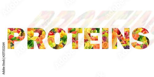 Tela A palavra Proteína escrita com frutos