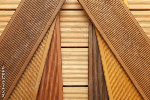 Leinwand Poster decking samples, wooden background
