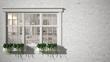 Exterior Brick Wall With White...