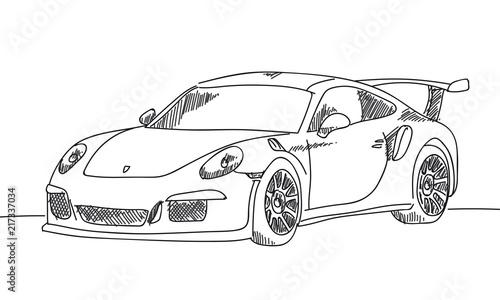 Fotografie, Obraz  Sportwagen handgezeichnet scribble