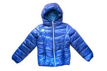 Children's Winter Jacket. Stylish Children's Blue Warm Down Jacket Isolated On White Background.
