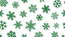 Christmas Background Of Snowflakes Of Different Shapes And Sizes With Shadows. Green On White