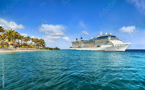 Cruise ship docked at tropical island on sunny day