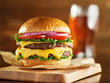 canvas print picture double cheese burger with beer