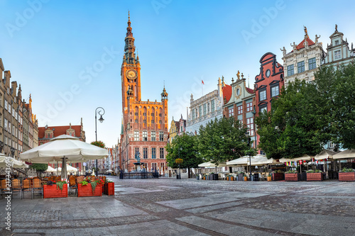 Obraz Gdański ratusz położony na ulicy Długiej na Starym Mieście w Gdańsku - fototapety do salonu