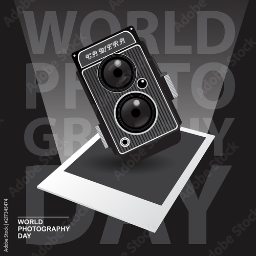 Photo Happy World Photography Day with vintage camera concept