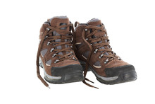 Brown Hiking Boots Isolated On A White Background