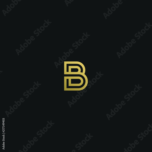 Photo Modern trendy elegant BB black and gold color initial based letter icon logo