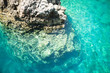Vivid blue sea in laguna and rock Turkey