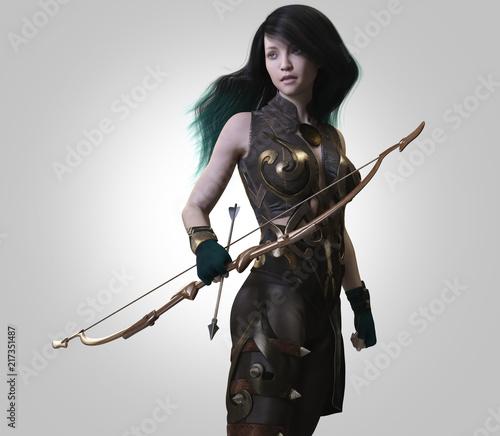 archer warrior woman-3d rendering Wallpaper Mural