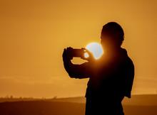 Selfie Beim Sonnenuntergang
