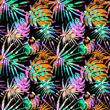 Seamless Summer Tropical Leaves Pattern, Textile Doodle Grunge Texture.