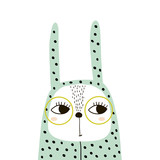 Cute bunny girl in romper and glasses. Childish print for t-shirt, apparel, cards, poster, nursery decoration. Vector Illustration - 217361083