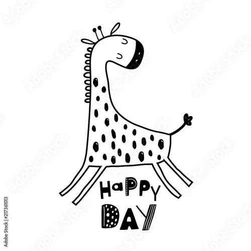 Cute hand drawn giraffe in black and white style Canvas Print