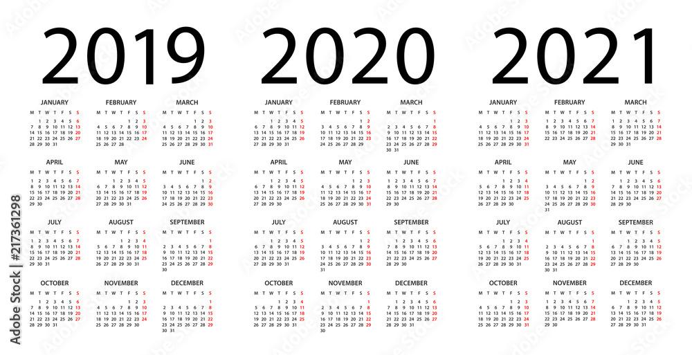 Calendar With Week Numbers 2020.Calendar 2019 2020 2021 Illustration Week Starts On Monday Foto