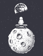 Astronaut Sits On Moon And Looks To Earth. Lonely Spaceman.Vector Illustration