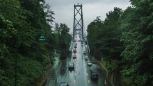 Rain Falls On A Early Summer Afternoon On Lions Gate Bridge In Vancouver, British Columbia.
