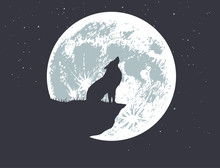 Wolf Howling To Full Moon On T...