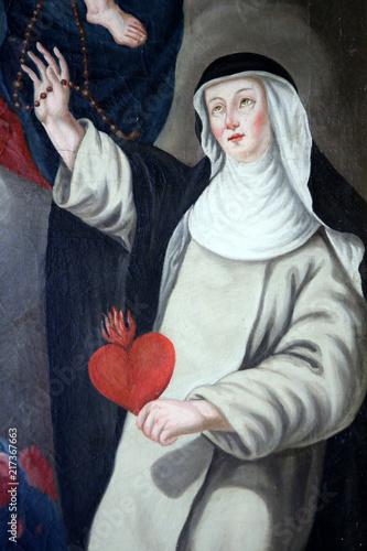 Obraz na płótnie Sainte-Catherine de Sienne tenant un coeur lors de l'Assomption de la Vierge-Marie