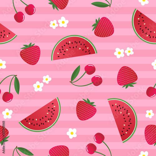 kolorowy-jasny-owoc-lato-wzor-z-truskawek-wisni-arbuza-i-kwiaty-na-rozowym