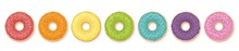 Donuts. Rainbow Colored Set Of Seven Donuts. Isolated Vector Illustration On White Background.