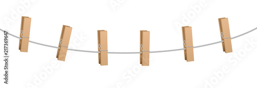 Fotografie, Obraz  Six clothes pins on a clothes line rope - wooden pegs holding nothing