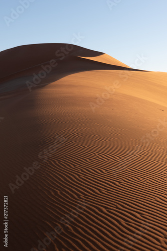 Foto  Wave ripple pattern on red sand dune in morning light with blue sky, Namib Naukl