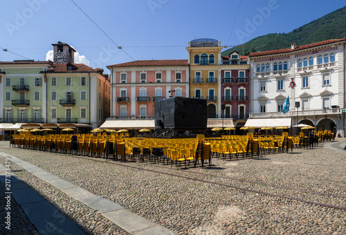 Photo Locarno square in August during the film festival, Switzerland