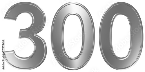 Poster  Numeral 300, three hundred, isolated on white background, 3d render